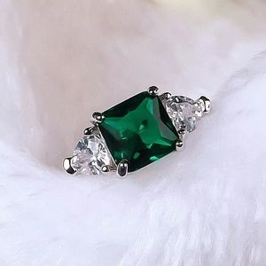 Emerald and Diamond Sterling Silver Ring